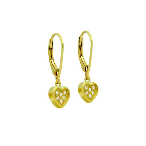 GOLD PLATED HEART CZ CLUSTER LEVERBACK DANGLE EARRINGS