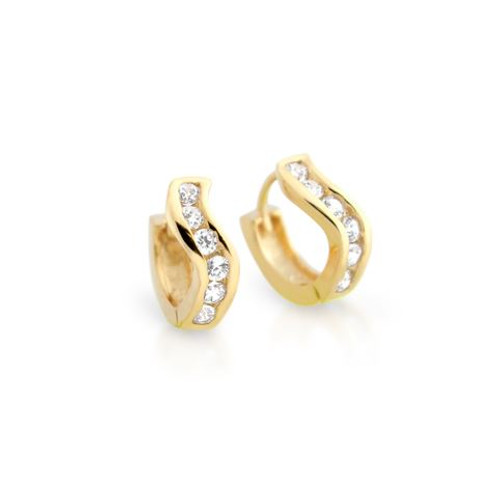 GOLD PLATED 12MM WAVY ROUND HUGGIE CZ EARRINGS