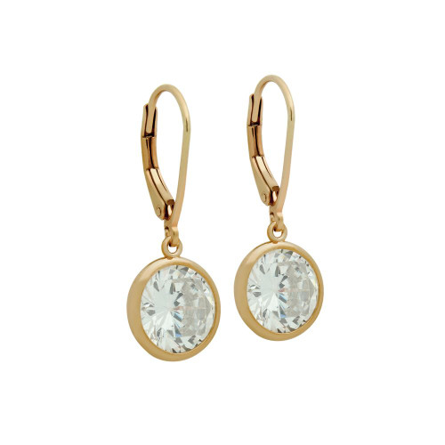 10MM ROSE GOLD PLATED ROUND BEZEL SET CZ STUD EARRING