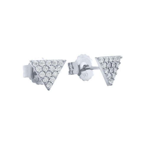 RHODIUM PLATED CZ TRIANGLE STUD EARRINGS
