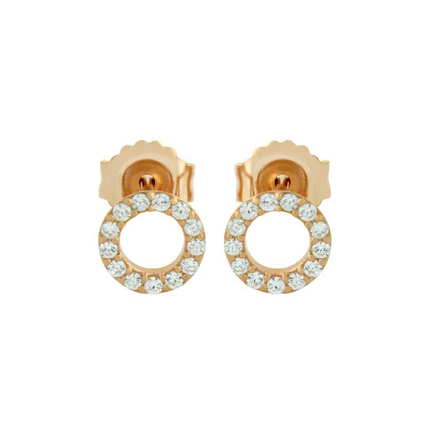 ROSE GOLD PLATED 7MM CZ ETERNITY CIRCLE STUD EARRINGS