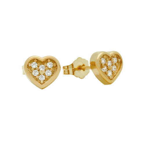 ROSE GOLD PLATED HEART SHAPED CZ CLUSTER STUD EARRINGS