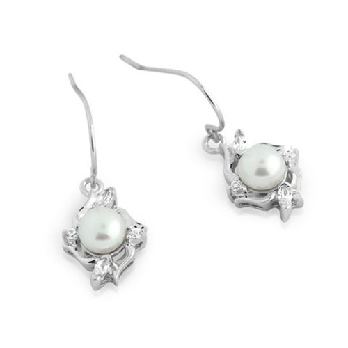 RHODIUM PLATED FRESHWATER PEARL AND CZ DANGLING EARRINGS