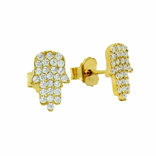 GOLD PLATED CZ PAVE HAMSA EARRINGS