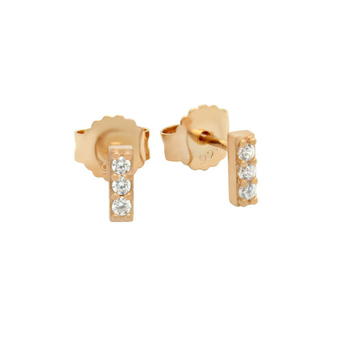 ROSE GOLD PLATED CZ BAR STUD EARRINGS