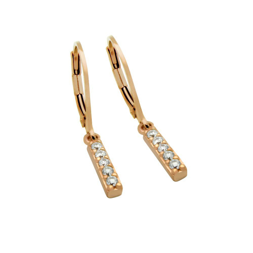 ROSE GOLD PLATED CZ BAR EARRINGS, SMALL