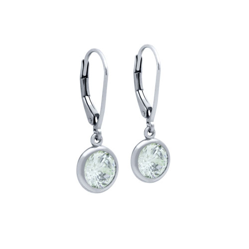 7.5MM RHODIUM ROUND BEZEL SET CZ DANGLING EARRINGS