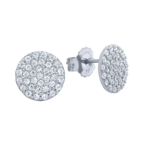 RHODIUM PLATED STERLING SILVER DISK EARRINGS WITH CZ PAVE