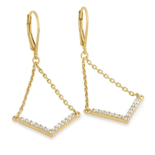 "GOLD PLATED EARRINGS WITH SUSPENDED CZ PAVE ""V"" CHEVRON"