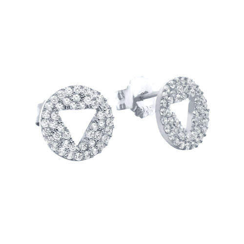 RHODIUM PLATED CZ DISK STUD EARRINGS WITH CUTOUT TRIANGLE