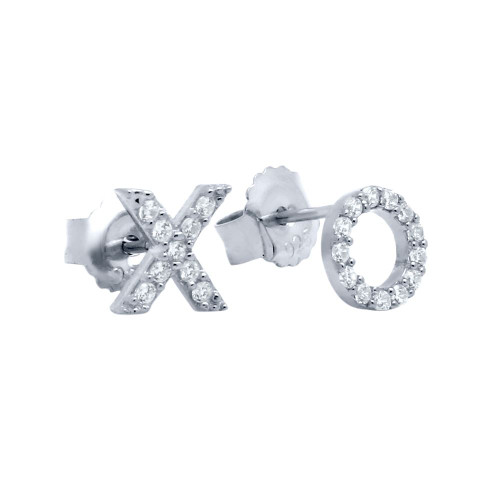 RHODIUM PLATED CZ PAVE XO STUD EARRINGS