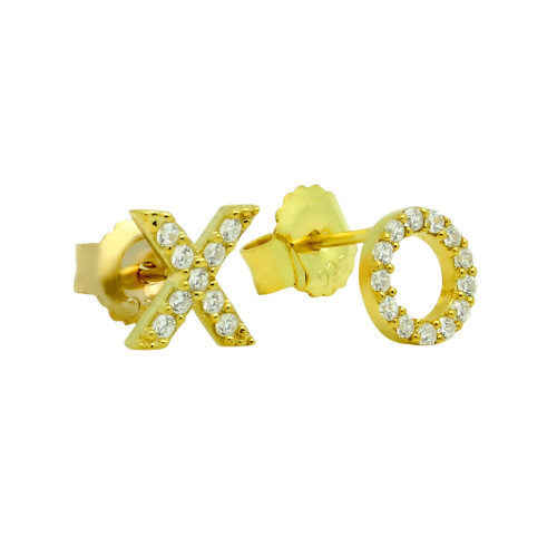 GOLD PLATED CZ PAVE XO STUD EARRINGS