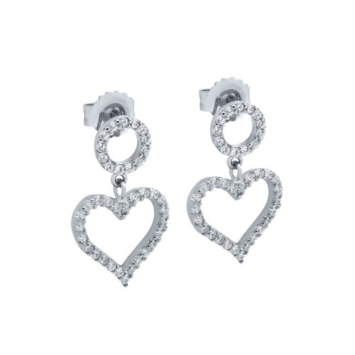 RHODIUM PLATED HEART AND CIRCLE OUTLINE CZ PAVE EARRINGS