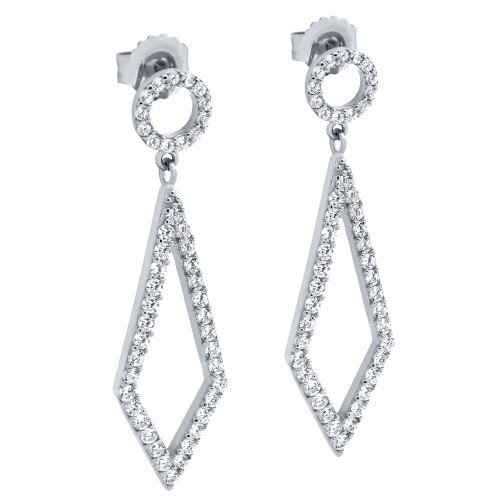 RHODIUM PLATED KITE AND CIRCLE OUTLINE CZ PAVE EARRINGS