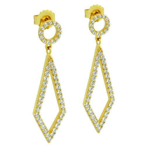 GOLD PLATED KITE AND CIRCLE OUTLINE CZ PAVE EARRINGS
