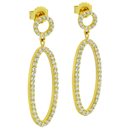 GOLD PLATED OVAL AND CIRCLE OUTLINE CZ PAVE EARRINGS