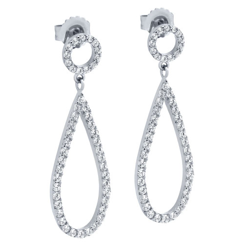 RHODIUM PLATED DROP AND CIRCLE OUTLINE CZ PAVE EARRINGS