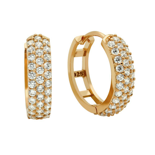 ROSE GOLD PLATED 17MM ROUND HUGGIE EARRINGS WITH TRIPPLE ROW CZ PAVE
