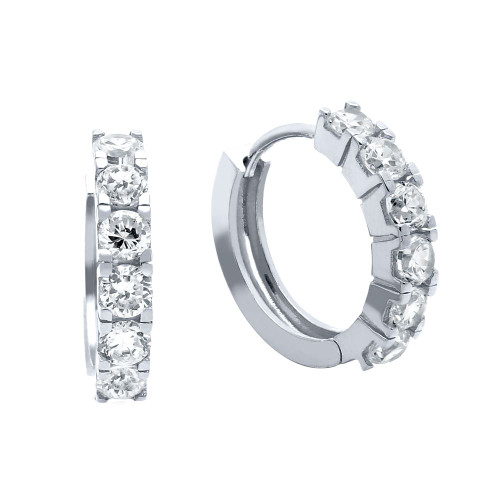 RHODIUM PLATED 18MM ROUND HUGGIE EARRINGS WITH 3.25MM CZ PAVE
