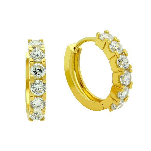 GOLD PLATED 18MM ROUND HUGGIE EARRINGS WITH 3.25MM CZ PAVE