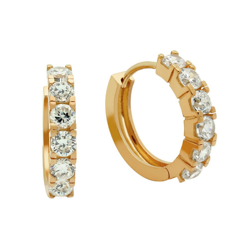 ROSE GOLD PLATED 18MM ROUND HUGGIE EARRINGS WITH 3.25MM CZ PAVE