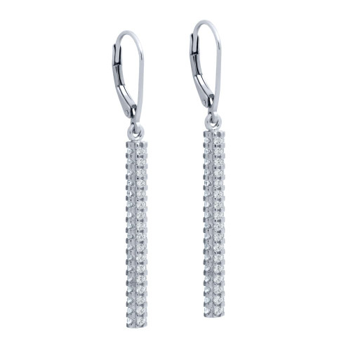 RHODIUM PLATED LEVERBACK EARRINGS WITH 32MM QUAD-ROW CZ BAR