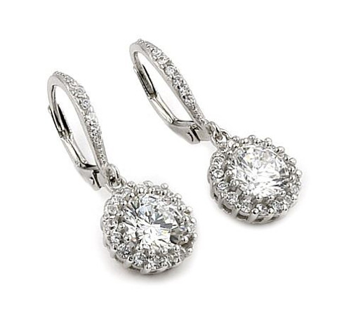 DANGLING ROUND CZ EARRINGS