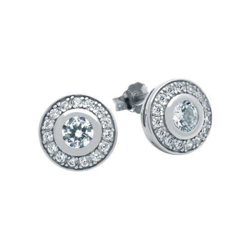 RHODIUM PLATED ELEGANT ROUND CZ EARRINGS