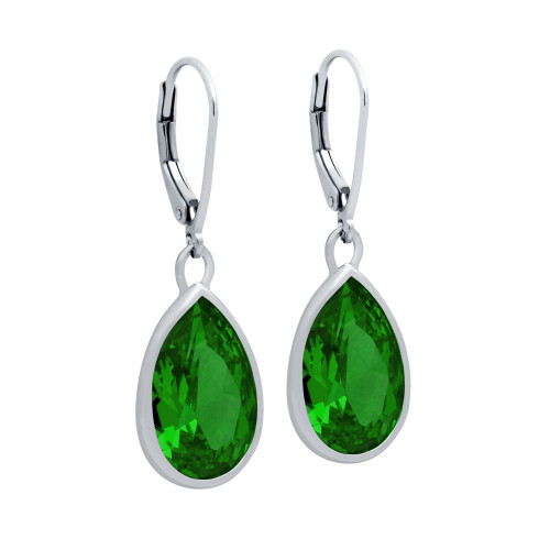 RHODIUM PLATED DROP SHAPE GREEN CZ FISH HOOK EARRINGS