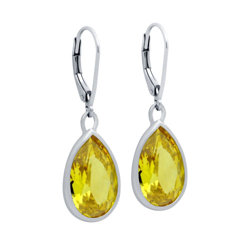 RHODIUM PLATED DROP SHAPE YELLOW CZ FISH HOOK EARRINGS