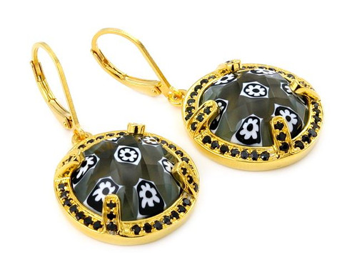 EXQUISITE FACETED BLK/WHT ROUND MURANO GLASS GOLD PLATED EARRINGS WITH HIGH QUALITY CZ MICROSETTING