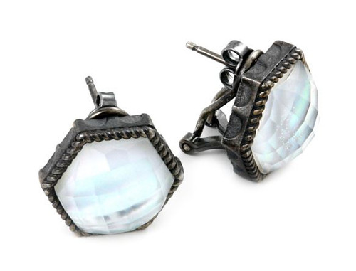 SIGNATURE AUTHENTICO MOTHER OF PEARL HEXAGON FACETED DEMIQUARTZ DOUBLET EARRINGS