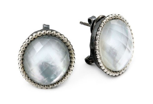 SIGNATURE AUTHENTICO MOTHER OF PEARL OVAL FACETED DEMIQUARTZ DOUBLET EARRINGS