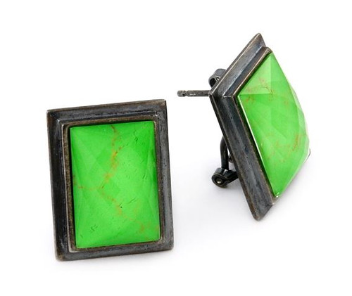SIGNATURE AUTHENTICO GREEN TURQUOISE RECTANGULAR FACETED DEMIQUARTZ DOUBLET EARRINGS
