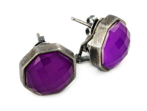 SIGNATURE AUTHENTICO SUGILITE OCTAGON FACETED DEMIQUARTZ DOUBLET EARRINGS