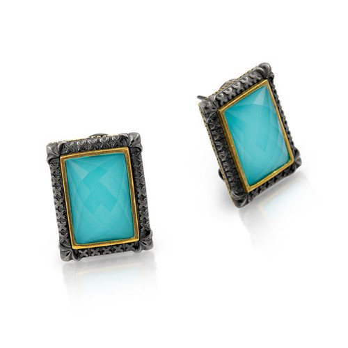 SIGNATURE AUTHENTICO TURQUOISE FACETED RECTANGULAR EARRINGS