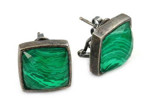 SIGNATURE AUTHENTICO MALACHITE SQUARE FACETED DEMIQUARTZ DOUBLET EARRINGS