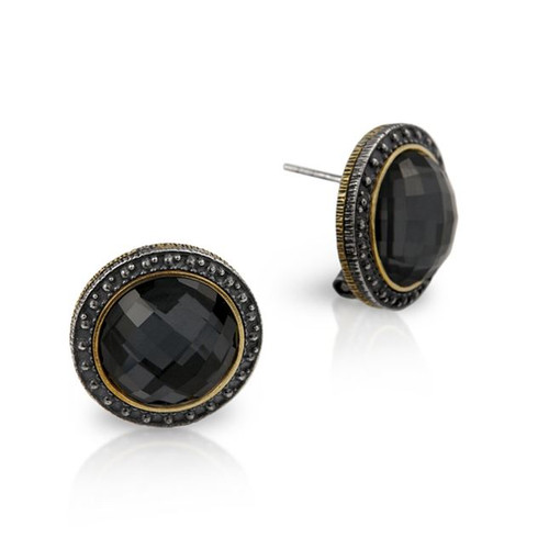 SIGNATURE AUTHENTICO HEMATITE FACETED ROUND EARRINGS