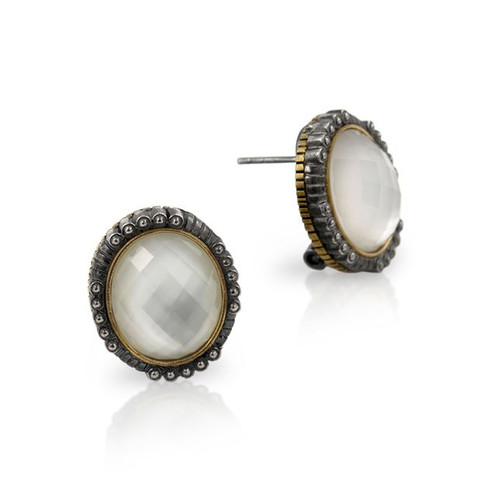SIGNATURE AUTHENTICO MOTHER OF PEARL FACETED OVAL EARRINGS
