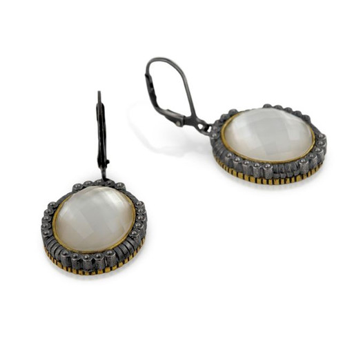 SIGNATURE AUTHENTICO MOTHER OF PEARL FACETED OVAL LEVER BACK EARRINGS