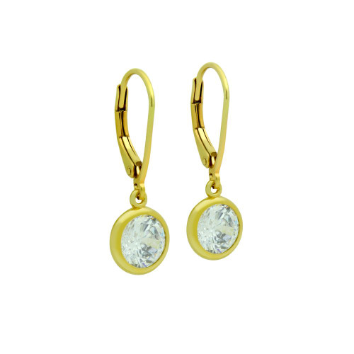 7.5MM GOLD PLATED ROUND BEZEL SET CZ DANGLING EARRINGS