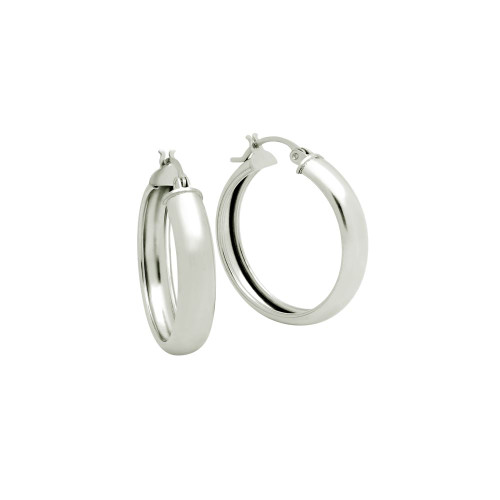 STERLING SILVER 28MM LIGHTWEIGHT HOOP EARRINGS