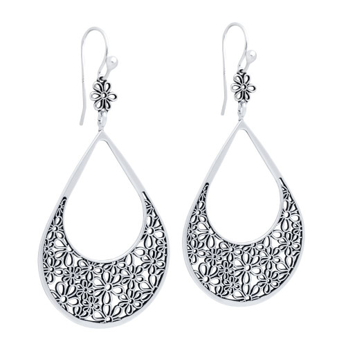 STERLING SILVER 31MM DROP-SHAPED FLOWER FILIGREE FISHHOOK EARRINGS