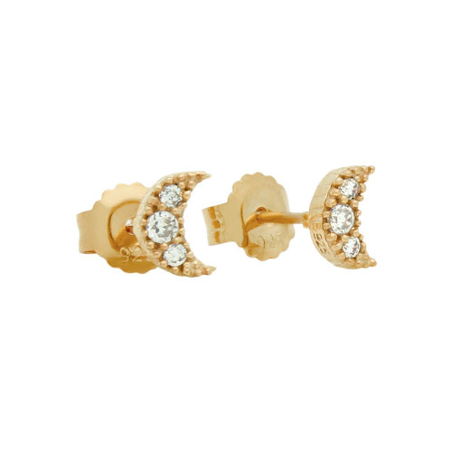 ROSE GOLD PLATED PAVE CZ MOON POST EARRINGS