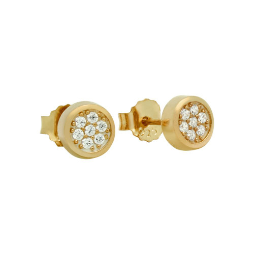 ROSE GOLD PLATED ROUND CZ CLUSTER STUD EARRINGS