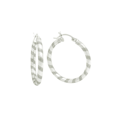 STERLING SILVER 3X30MM LIGHTWEIGHT STRIPED TUBE HOOP EARRINGS