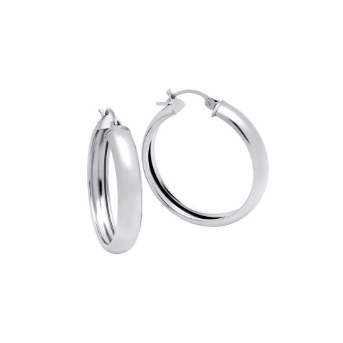 RHODIUM PLATED 31MM LIGHTWEIGHT HOOP EARRINGS