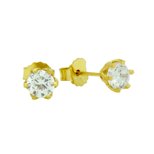 GOLD PLATED FLORAL DESIGN SMALL CZ STUD EARRINGS