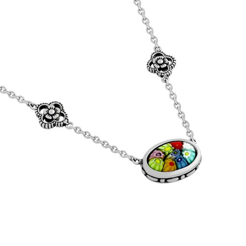"MULTICOLOR MURANO MILLEFIORI OVAL NECKLACE 18"" + 3"""