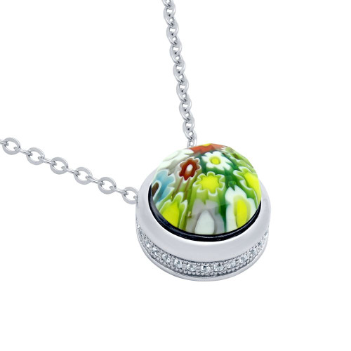 MULTICOLOR MURANO MILLEFIORI ROUND NECKLACE WITH CZ PAVE